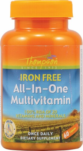 Thompson  All In One Multivitamin Iron Free Perspective: front