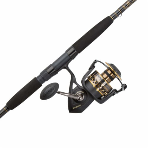 Penn BTLII8000102H Battle II HT100 Saltwater Spinning Fishing Reel and Rod Combo Perspective: front