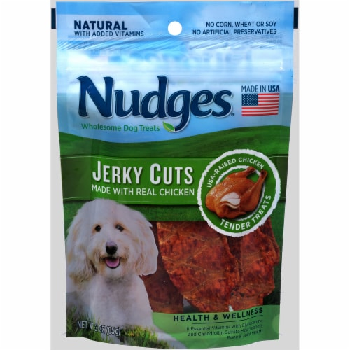 Nudges Real Chicken Jerky Cuts Dog Treats Perspective: front
