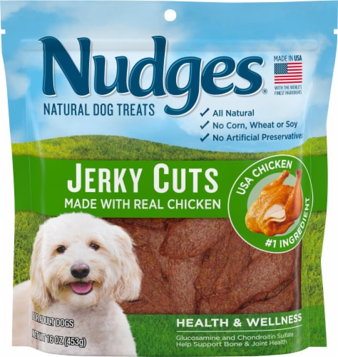 Nudges Natural Jerky Cuts with Real Chicken Adult Dog Treats Perspective: front