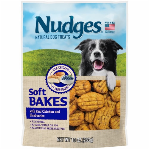 Nudges Soft Bakes with Real Chicken and Blueberries Natural Dog Treats Perspective: front