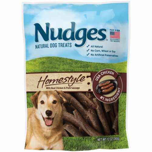 Nudges Homestyle Chicken and Pork Natural Dog Treats Perspective: front