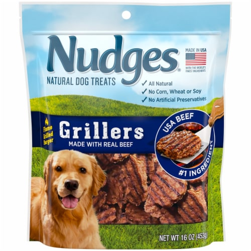 Nudges Grillers Real Beef Natural Dog Treats Perspective: front