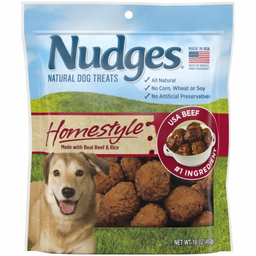 Nudges Homestyle Beef & Rice Natural Dog Treats Perspective: front