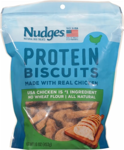 Nudges Protein Biscuits Chicken Dog Treats Perspective: front
