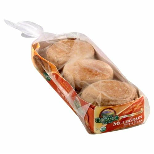 Rudi's Organic Bakery Multigrain With Flax English Muffins Perspective: front