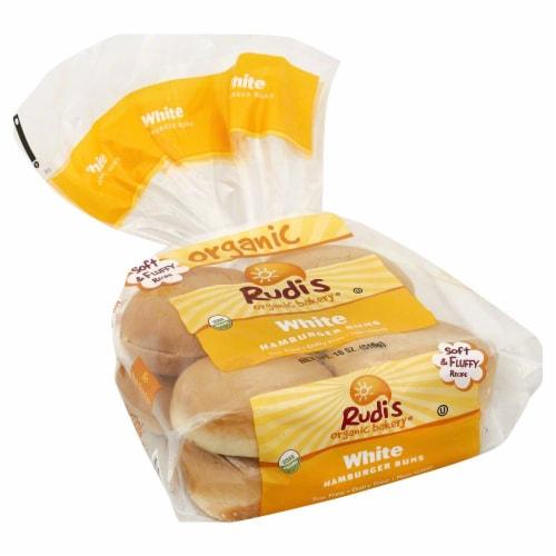 Rudi's Organic Bakery® Organic White Hamburger Buns Perspective: front