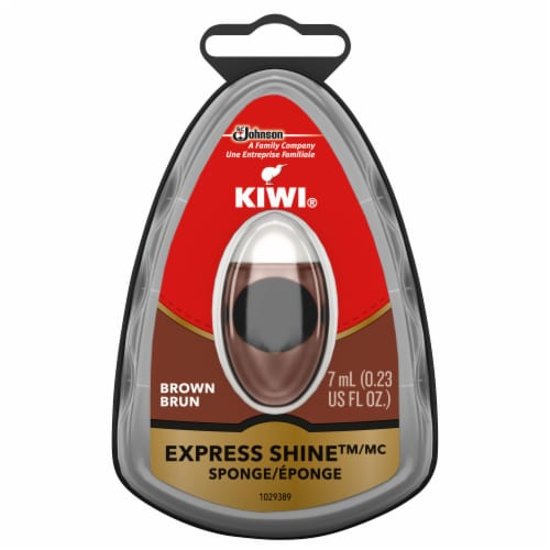 KIWI® Express Shine Sponge - Brown Perspective: front