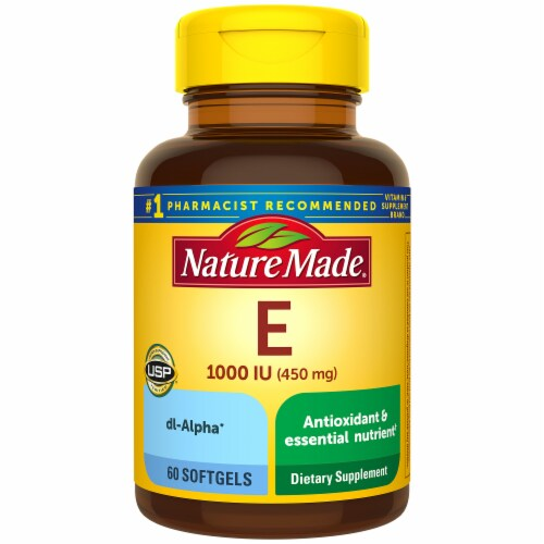 Nature Made Vitamin E Dietary Supplement Softgels 450mg 60 Count Perspective: front