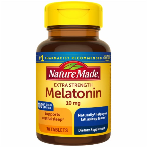 Nature Made Extra Strength Melatonin Tablets 10mg Perspective: front