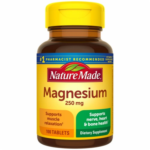 Nature Made Magnesium Tablets 250mg 100 Count Perspective: front
