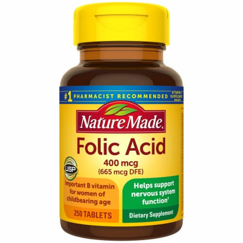 Nature Made Folic Acid Tablets 400mcg 250 Count Perspective: front