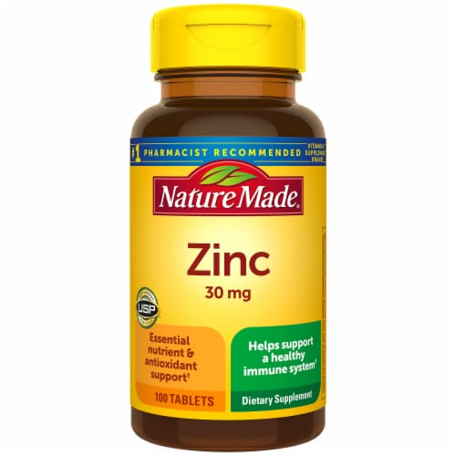 Nature Made Zinc Tablets 30mg Perspective: front