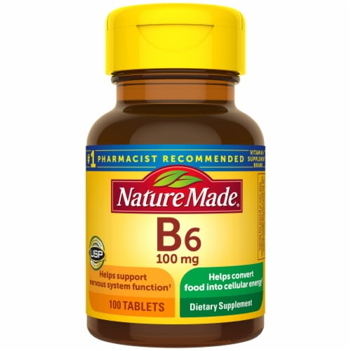 Nature Made Vitamin B6 Dietary Supplement Tablets 100mg 100 Count Perspective: front