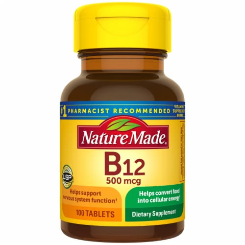 Nature Made® Vitamin B12 500mcg Tablets Perspective: front