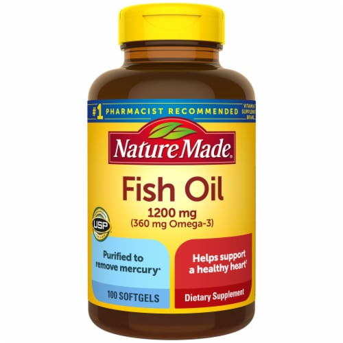 Nature Made Fish Oil Omega-3 Softgels 1200mg Perspective: front