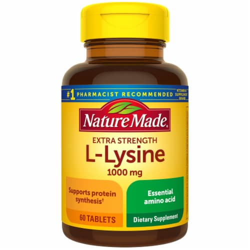Nature Made Extra Strength L-Lysine Tablets 1000mg Perspective: front