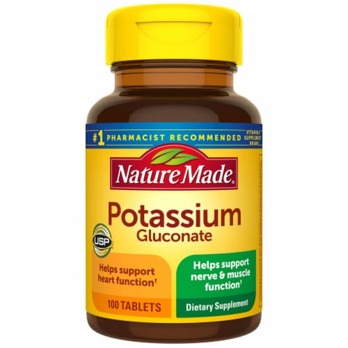 Nature Made Potassium Gluconate Dietary Supplement Tablets 550mg 100 Count Perspective: front