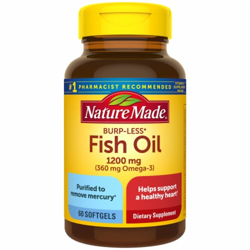 Nature Made Fish Oil 360 mg Omega-3 Dietary Supplement Softgels 1200mg Perspective: front