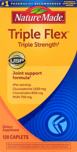 Nature Made Triple Flex Glucosamine 1500 mg Chondroitin 800 mg & MSM 750 mg Caplets Perspective: front