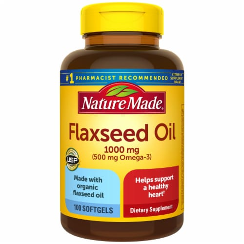 Nature Made Flaxseed Oil Softgels 1000mg 100 Count Perspective: front
