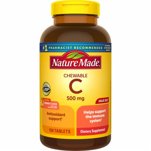 Nature Made Chewable Vitamin C Tablets 500mg 150 Count Perspective: front