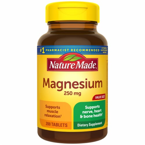 Nature Made Magnesium Tablets 250mg 200 Count Perspective: front