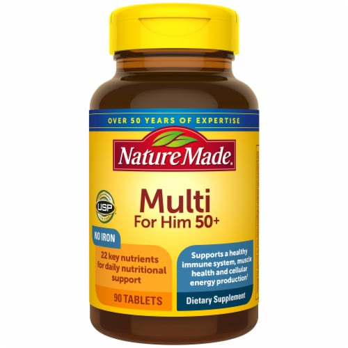 Nature Made Multi for Him 50+ Vitamin Tablets 90 Count Perspective: front
