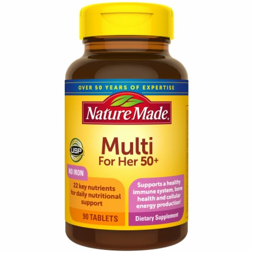 Nature Made Multivitamin for Her 50+ Dietary Supplement Tablets 90 Counts Perspective: front