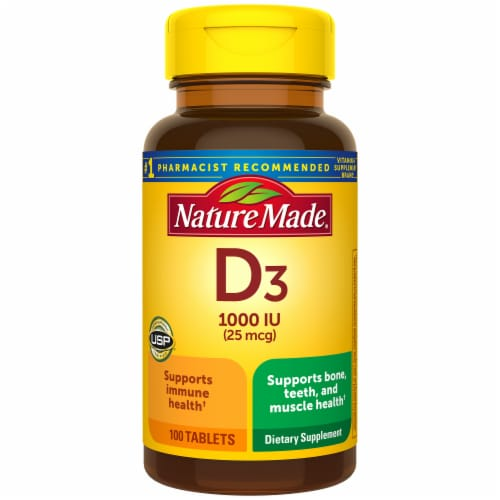 Nature Made® Vitamin D3 25mcg Tablets Perspective: front