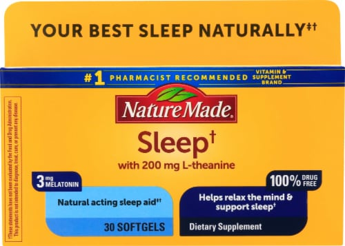 Nature Made Naturally Acting Sleep Aid Softgels 30 Count Perspective: front