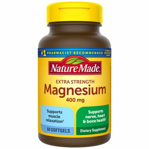 Nature Made Extra Strength Magnesium Softgels 400mg Perspective: front