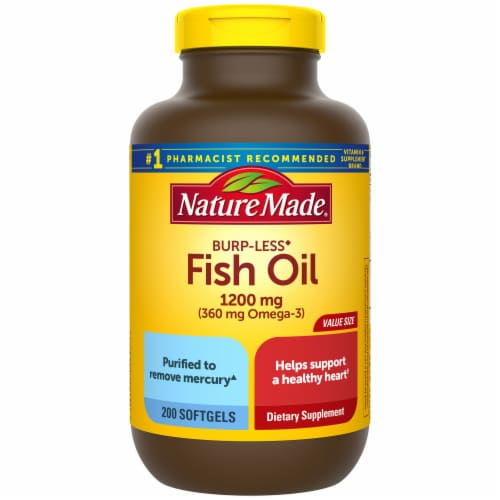 Nature Made Burp-Less Fish Oil Omega-3 Dietary Supplement Softgels 1200mg Perspective: front