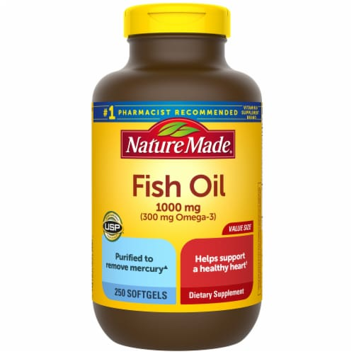 Nature Made Fish Oil Omega-3 Dietary Supplement Softgels 1000mg 250 Count Perspective: front