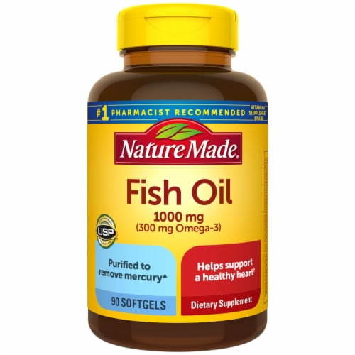 Nature Made Fish Oil Omega-3 Dietary Supplement Softgels 1000mg Perspective: front