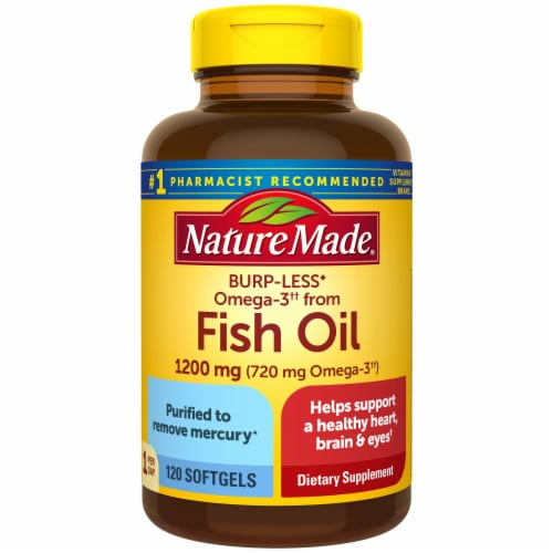 Nature Made One Per Day Burp-Less Fish Oil 1200 mg Omega-3 720 mg Softgels 1200mg Perspective: front