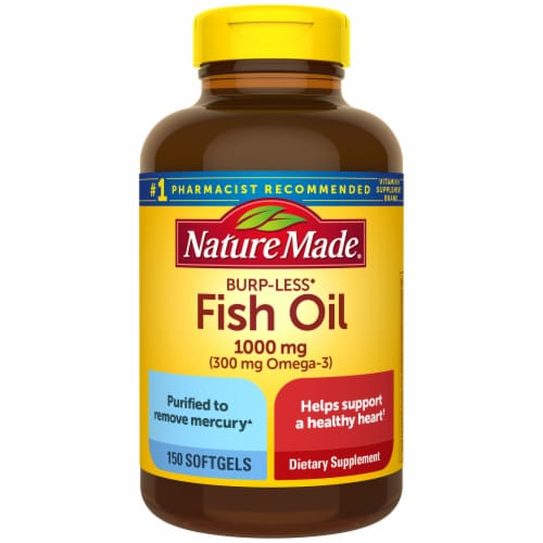 Nature Made Burp-Less Fish Oil Omega-3 Dietary Supplement Softgels 1000mg 150 Count Perspective: front