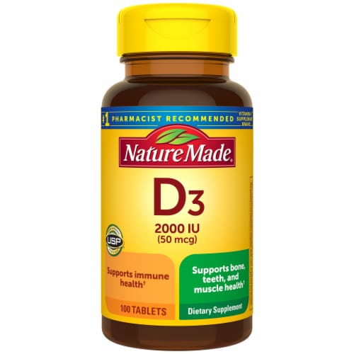 Nature Made Vitamin D3 Tablets 2000IU Perspective: front