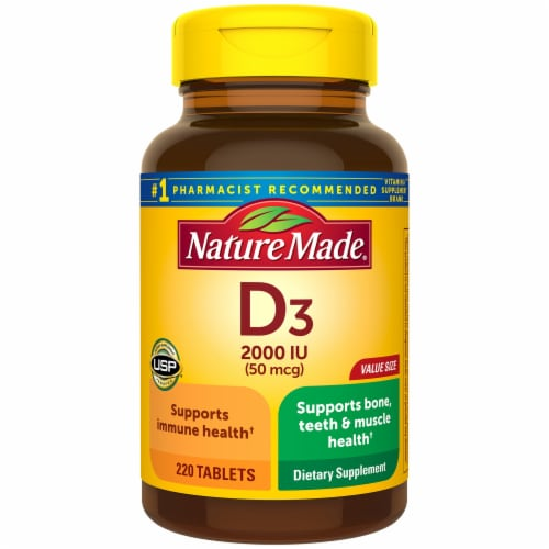 Nature Made Vitamin D3 Tablets 50mcg Perspective: front