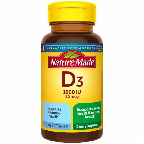 Nature Made Vitamin D3 Softgels 25mcg 100 Count Perspective: front