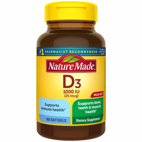Nature Made D3 Softgels 25mcg Perspective: front