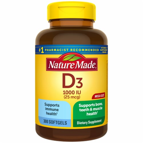 Nature Made Vitamin D3 Softgels 25mcg Perspective: front