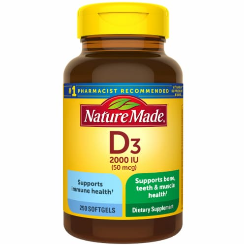 Nature Made Vitamin D3 Softgels 50mcg Perspective: front