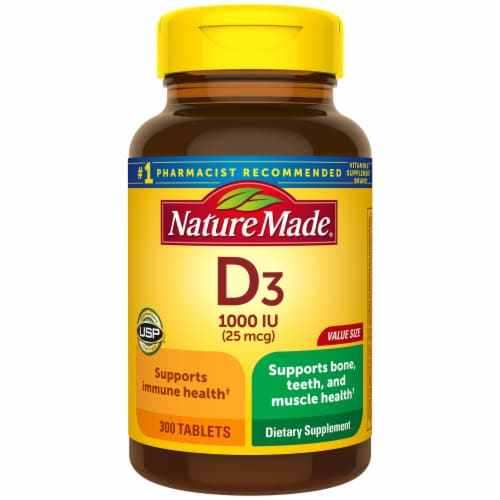 Nature Made® Vitamin D3 Tablets 25mcg Perspective: front