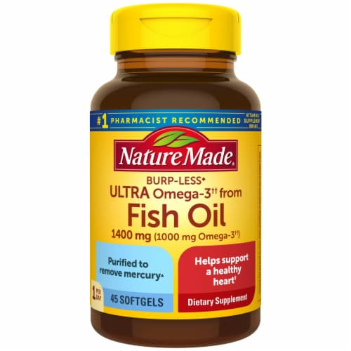 Nature Made Burp-Less Ultra Omega-3 Fish Oil Softgels 1400mg 45 Count Perspective: front