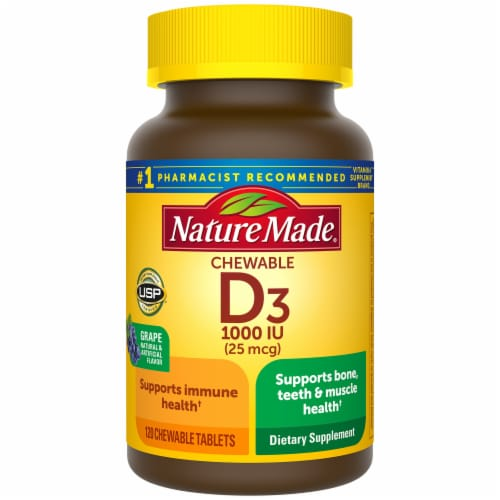 Nature Made Vitamin D3 1000 IU Grape Flavor Chewable Tablets Perspective: front
