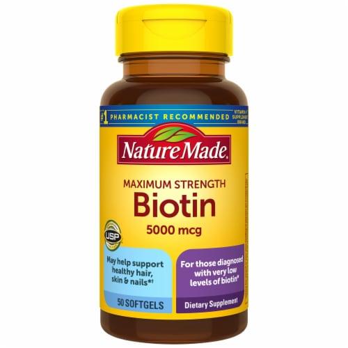Nature Made Maximum Strength Biotin Softgels 5000mcg Perspective: front