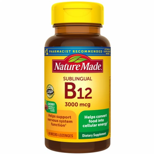 Nature Made Sublingual Vitamin B12 Cherry Flavor Micro-Lozenges 3000mcg 40 Count Perspective: front