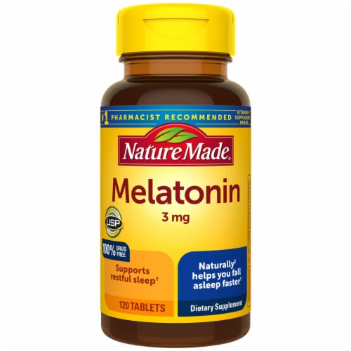 Nature Made Melatonin Tablets 3mg 120 Count Perspective: front