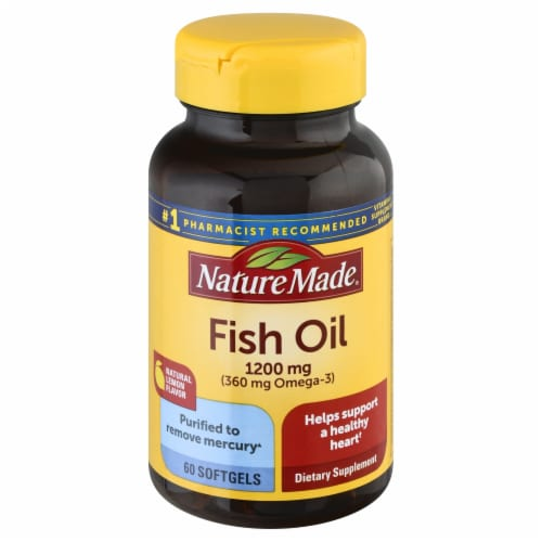 Nature Made Fish Oil Omega-3 Softgels 1200mg 60 Count Perspective: front